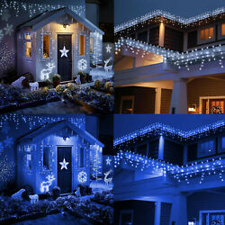 CHRISTMAS LED WHITE BLUE SNOWING ICICLE BRIGHT PARTY WEDDING XMAS OUTDOOR LIGHTS