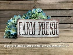 Farm Fresh Rustic Country Home Decor Farmhouse Rustic Sign Wall Decor 8x3quot; $15.99