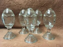 5 Antique Glass Egg Cups With Lids Fancy Scalloped Egg Cups Excellent $276.25