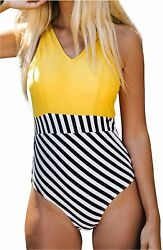 CUPSHE Women#x27;s Yellow V Neck and Striped Bottom One Piece Yellow Size Medium $9.99