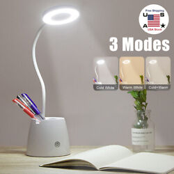 LED Desk Lamp Reading Light Table Dimmable Flexible Rechargeable Touch Control $15.29