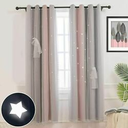 Curtains Stars Blackout Curtains for Kids Girls Bedroom Double Layer 52W x 108L $29.98