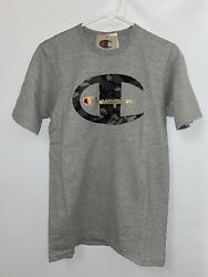NEW CHAMPION size SMALL Camo Heather Gray amp; Gold Logo mens t shirt $6.90