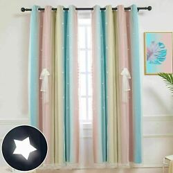 Stars Blackout Curtains for Kids Girls Bedroom Double Layer 1 Panel 52W x 63 L $22.99