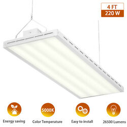 4FT Super Bright LED High Bay Warehouse Shop Commercial Light Fixture 220W 5000K