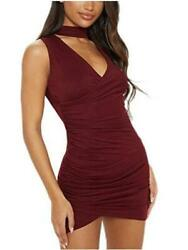 Party Dresses for Women Choker Red Bodycon Mini Wrap Dress Wine Size Small B2N $10.99