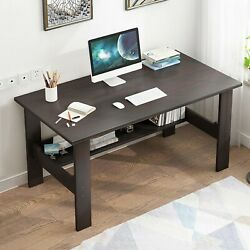 Black Computer Desk PC Laptop Table Study Workstation Wood Home Office w Shelf $46.99