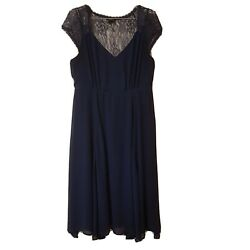 Torrid Women#x27;s Dark Blue Holiday Party Lace Sleeve Dress Size 10 $19.99