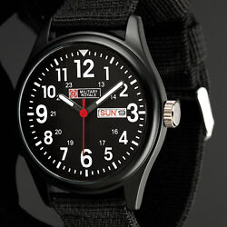 Military Royale Mens Watch Quartz Black Stainless Steel Fabric Date Display Army $16.90