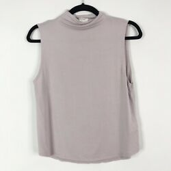 Aritzia Babaton Small S Vince TShirt Tank Mock Neck Light Purple Lavender Jersey $22.50