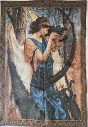 Angel Playing Harp In Forest Tapestry Wall Hanging With Two Rod Pockets Vintage $44.99