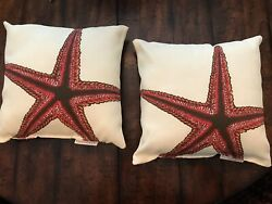 POTTERY BARN Lot X 2 Two Small OUTDOOR STARFISH PILLOWS Rare Coral Red PRE OWNED $24.00