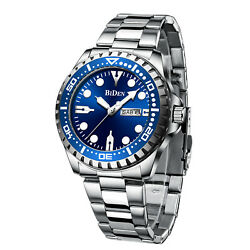 Mens Watches Silver Stainless Steel Date Blue Analog Quartz Business Wristwatch $24.59