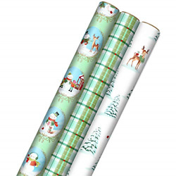 Hallmark Christmas Wrapping Paper with Cut Lines on Reverse 3 Rolls: 120 sq. ft. $20.10
