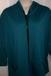 CATHERINES Plus 5X 34 36W Tealish Green Black Hooded Zip Up Jacket Top NEW $27.99
