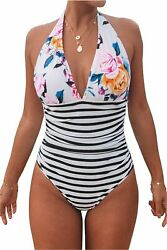 CUPSHE Women#x27;s Shirring Design High Waisted One Piece Multi color Size X Large $9.99