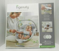 INGENUITY CRADLING MUSICAL BABY BOUNCER GRAY WHITEBLUE amp; GREEN ELEPHANT amp; LION $38.95