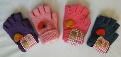 Fingerless Girls#x27; Gloves One Size LOT OF 4 PAIRS Gray Purple Pink Light Pink $11.49