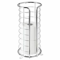 mDesign Metal Free Standing Toilet Paper Stand Holds 3 Rolls Chrome $22.99