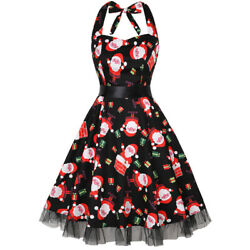 Women Halter Christmas Santa Claus Belted Vintage Party Fit Flare Cocktail Dress $13.99