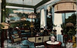 New Orleans LA Hotel DeSoto Lounge Victorian Lamps amp; Armchairs $1.50 Up 1912 PC $10.00