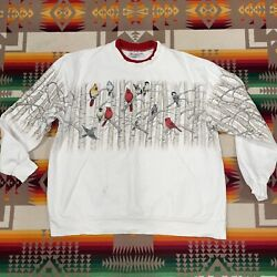 Vintage Morning Sun Women's Sweatshirt XL Birds White Collared Made In USA $39.99