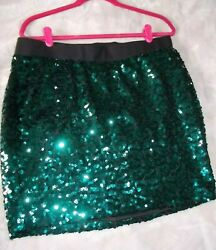 Torrid Mini Skirt Plus 0X Emerald Green Sequin Stretchy Cocktail Evening Party $33.00