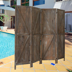 4 Panels Rustic Room Divider Folding Privacy Screens W X shaped Design Brown $129.99