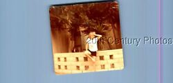 FOUND COLOR PHOTO P9917 CHILD STANDING BY WALLTREES $6.98