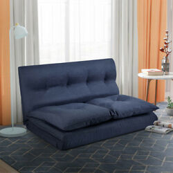 Folding Chaise Lounge Sleeper Fabric Sofa Floor Couch Adjustable Sofa Chair Blue $196.99
