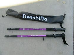 Set of The Fitlife Antishock duralumin Trekking Poles 115 135CM W Bag $19.99