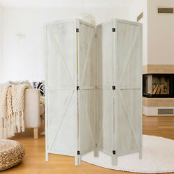 4 Panel Rustic Room Dividers Foldable Privacy Screens Home Decor Indoor Outdoor $129.99
