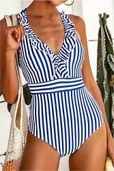 CUPSHE Women#x27;s V Neck One Piece Swimsuit Ruffled Back Cross Blue Size Medium $10.99
