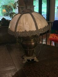 Antique Lamp with Glass Panel Shades $300.00