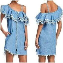 BLANKNYC Womens Blue Frayed Button Down Party Dress S $35.00