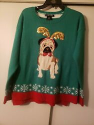 United States Sweaters Holiday Women#x27;s L Ugly Christmas Sweater Pug Dog Green $13.00