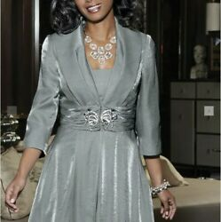 Plus Size 18W Silver GrayShimmer Formal Jacket and Dress Set $65.00