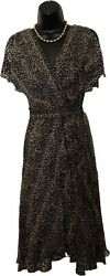 Adrianna Dress Sz 6 Leopard Draped Chiffon Shear Flows Open Sleeve Party Evening