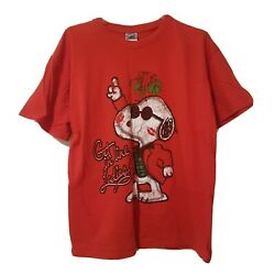 Peanuts Snoopy The Dog Large Ladies Man Christmas Holiday Red T Shirt $7.91