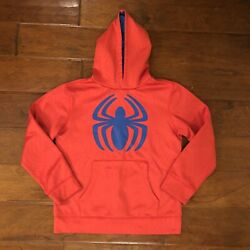 Marvel Spider Man Boys L 10 12 Hoodie Sweatshirt Red Pullover Web Front Pocket $12.50