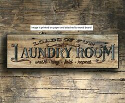 Laundry Sign Shelf Sitter Vintage Style Farmhouse Decor Rustic 8x3quot; $14.98
