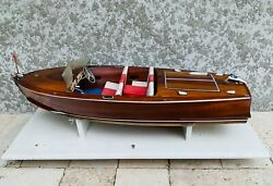 Vintage CENTURY SEA MAID Hand Made Wood RC Boat 27quot; Stand Electric Motor Servos $249.99