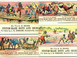 A.W. Sears Boots LOT of 6 Funny Victorian Trade Cards Kendallville Iowa Dubuque $30.00