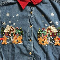 Vintage Womens Christmas Button Up Ginderbread Man Large $20.00
