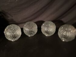 4 Vintage Faceted Glass Shades Pineapple Clear Ceiling Light Covers Mid Century $100.00