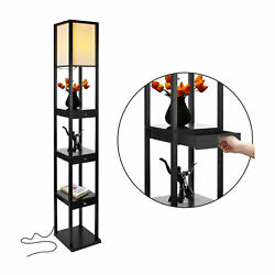 Brightech Maxwell Standing Tower Floor Lamp with Shelves Black Open Box $92.99
