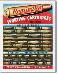Remington For Rifles amp; Pistols Ammo Distressed Vintage Ad Metal Tin Sign $15.99
