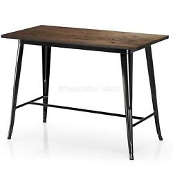 Gloss Black Rectangle Counter Height Bar Table Vintage Wood Table Top 35.43quot; $229.46
