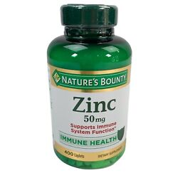 Nature's Bounty ZINC 50mg Vitamin Immune Health Supplement 400 Count Caplets $19.98