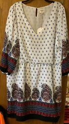 NWT HAYDEN BOHEMIAN DRESS WOMENS PLUS SIZE 1XL LINED ELASTIC WAIST $4.99